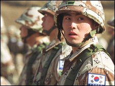 South Korean soldiers preparing to deploy to Afghanistan in 2001
