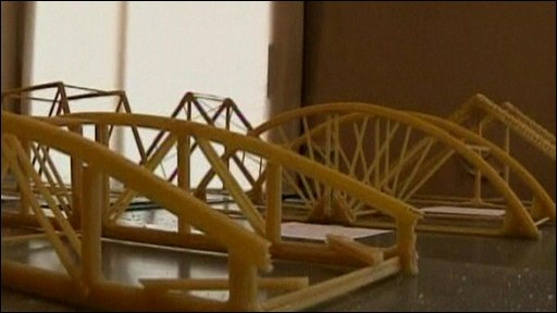Bridges made from spaghetti