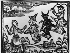 Woodcut of witches