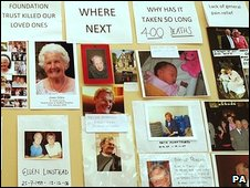 A tribute wall to people who died at Stafford Hospital