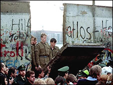 A hole in the Berlin Wall created by demonstrators