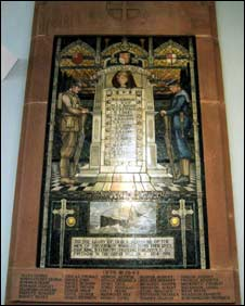 War memorial with image of Lusitania (Pic: Edge Conservation and Restoration Services)