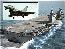 New Royal Navy aircraft carrier; (inset: Typhoon eurofighter)