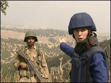 The BBC's Orla Guerin visits one of the hilltop locations captured by the Pakistani army