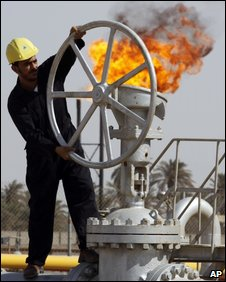 File photo of a worker at the Nahran Omar oil refinery near Basra, Iraq's second-largest city.