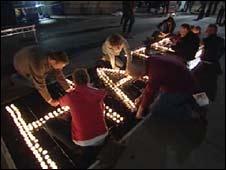 Campaigners hold an anti-hate vigil in Trafalgar Square