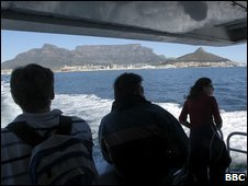 View from the stern of the ferry from Cape Town to Robben Island (file image)