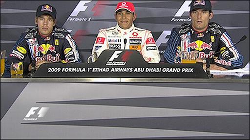 Sebastian vettel, Lewis Hamilton and Mark Webber