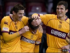 Motherwell celebrate Ross Forbes' goal