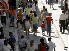 People walk in Old Havana, Cuba