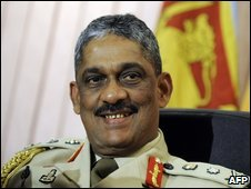 General Sarath Fonseka in his office on the day he was appointed Sri Lanka's new Chief of Defence Staff, Colombo (15 July 2009)