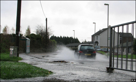 A flooded pavement in the Energlyn area of Caerphilly on Sunday