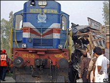 The train which collided with a truck in Uttar Pradesh on Sunday