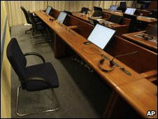 View of the empty seat where Radovan Karadzic was supposed at the start of his trial in The Hague, Netherlands, 26 October 2009