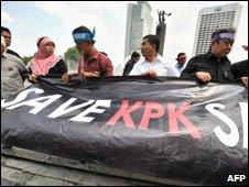 Anti police demo, Jakarta, to support anti corruption commission, 2 Nov 09