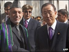Afghan President Hamid Karzai meets UN Secretary General Ban Ki-moon in Kabul on 2 November 2009