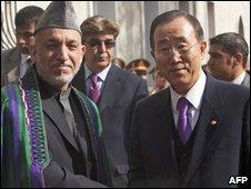 Afghan President Hamid Karzai meets UN Secretary General Ban Ki-moon in Kabul on 2 November 2009