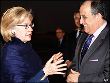 US Secretary of State Hillary Clinton and her Moroccan counterpart Taib Fassi Fihri