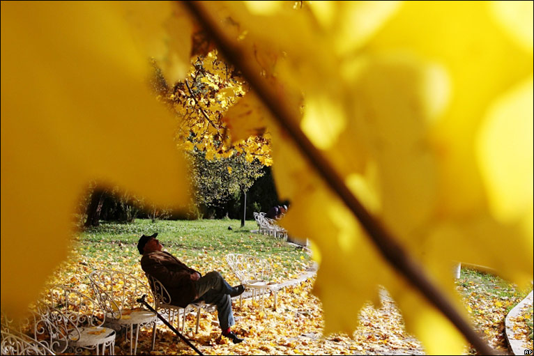 A man relaxes in a park in Sofia, Bulgaria