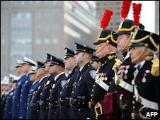 Representatives of New York's police and fire departments and US military, 2 Nov
