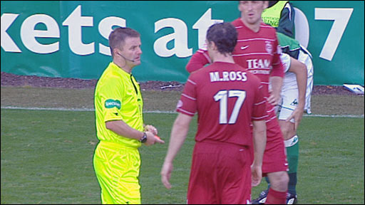 Aberdeen's Maurice Ross is sent off