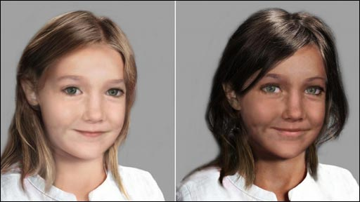 Computer-generated images of how Madeleine McCann may look aged six