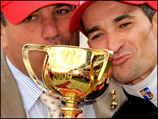 Trainer Mark Kavanagh and jockey Corey Brown with the Melburne Cup