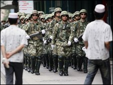 Security forces in Urumqi, Xinjiang, China (13 July 2009)