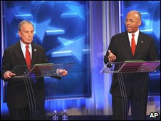 Michael Bloomberg and Bill Thompson in a debate, 27 Oct