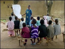 School children at an open air school in Guinea
