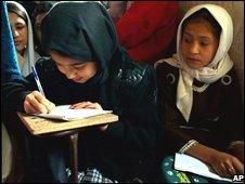 Afghan girl at school