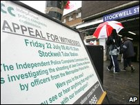 Appealing for witnesses outside Stockwell tube station after Jean CHarles de Menezes was shot