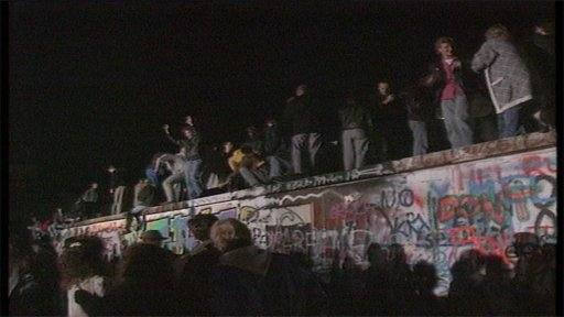 Crowds on top of Berlin Wall 1989