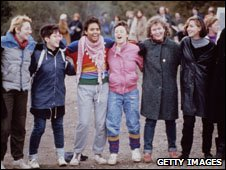 Women at the Greenham Common's Peace Camp