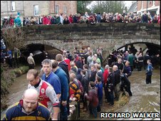 Shrovetide players in the Henmore