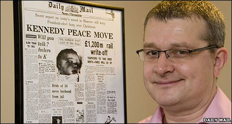 David Stevenson in February 2009 with the Daily Mail front page