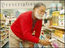 Man in a pharmacy