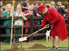 Queen Elizabeth II planting a tree