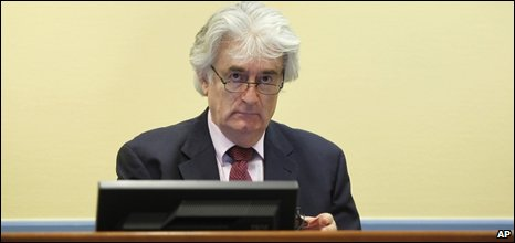 Radovan Karadzic at his first appearance at the trial in the Hague.