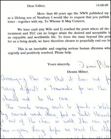 The letter sent to the BBC by the Milners