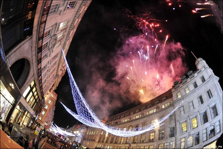 Fireworks on London's Regent Street