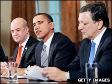 President Obama with Sweden's Fredrik Reinfeldt, left, and Jose Manuel Barroso