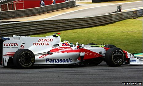 Kamui Kobayashi driving his Toyota