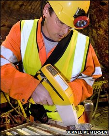 Geologist with XRF