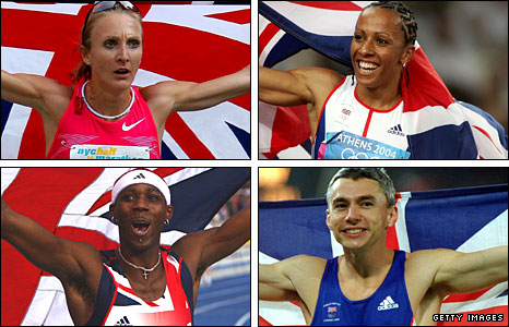 Clockwise from top left: Radcliffe, Holmes, Edwards and Idowu