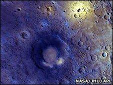 Enhanced-colour view of volcanic region