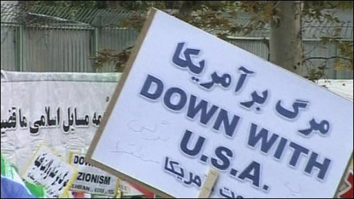 Placard saying 'Down with USA'