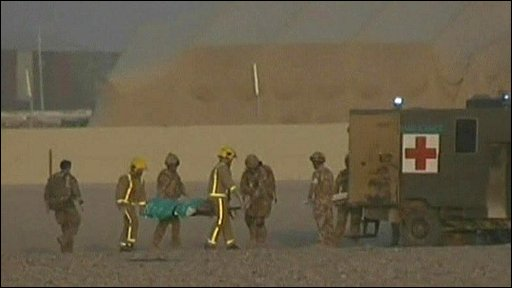 Troops taken to military ambulance