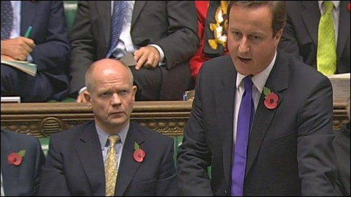 Conservative leader David Cameron talks about MPs expenses during Prime Minister's Questions