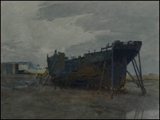 Knox painting of a boat courtesy Manx National Heritage